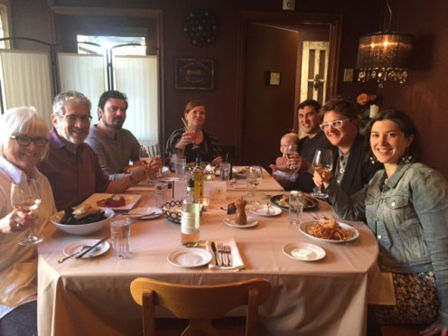 Gathered around the table at Marzano's Italian restaurant, from left: Lori, George, Nathan, Jamie, Jordan with Emalyn, Kyndall and Simone.