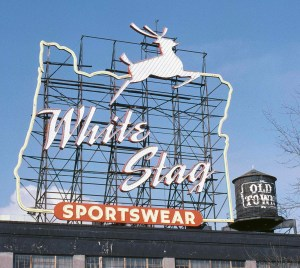 Portland's White Stag Sign in 1985.
