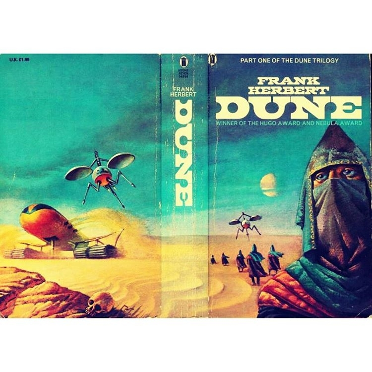 Ornithopters and spice harvesters.  regram @sf_cover Art by Bruce Pennington #scifi #scifiart #scificovers #sciencefiction #retro #retroscifi #future #space #futuristic #dune #imperial #messie #messiah #atreides #galaxy #frankherbert #illustration #paperback #geek #geekculture  #bucepennington
