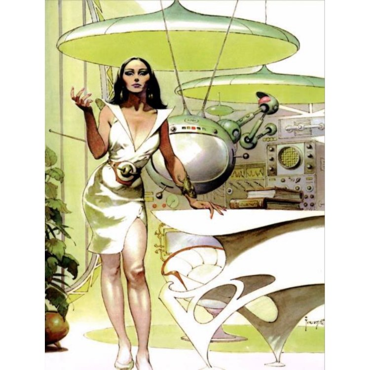 Frank Frazetta, 1973. Possibly from a commercial brochure he did for Dow Chemical, or their employee magazine Elements. #art #scifi #retro #frazetta #woman #pen #avocadogreen