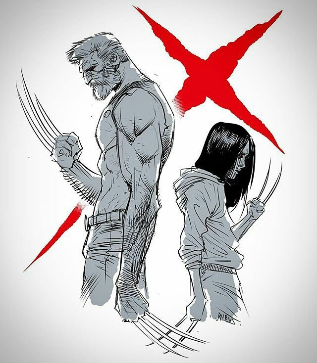 Rubus drew this. I assume after leaving the cinema stunned, like I did.  Repost @rubus_the_barbarian ・・・ Logan.  Best damn Xmen film,  ever… #logan #wolverine #x23 #old #man #daughter #dad #father #girl #love #metal #claws #hair #beard #muscles #xmen #comics #art #artwork #artist #rubus #marvel #marvelcomics #draw #drawing #hero #best #film #cinema @marvel