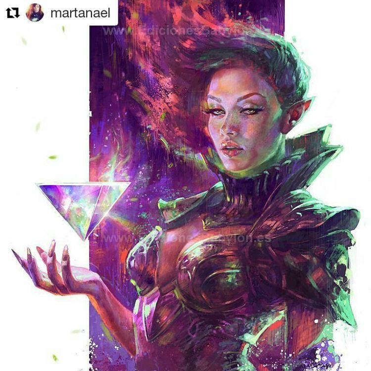 Love the use of color. Follow this artist.  #Repost @martanael ・・・ Cover artwork for the first edition of my artbook LUX, from 2013. 😊  Link in bio to get the second edition of my artbook. To get prints of this one just look for LUX in the same link.  #lux #woman #art #painting #sketch #martanael #redhead #magic #warrior #triangle #light #color #colorful #pink #pinkhair