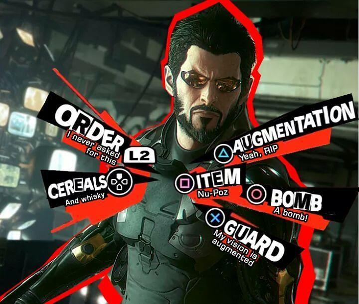 Deus Ex with that explosive Persona menu. Nice. Bomb a bomb. #persona #deusex  #cyberpunk