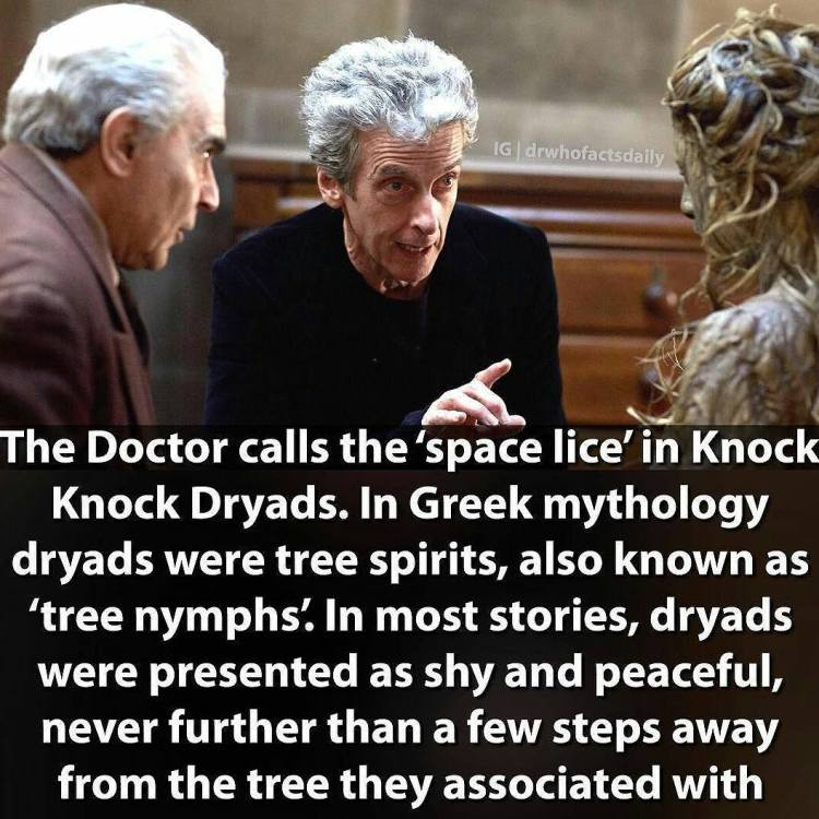A bit of mythology reference.  #Repost @drwhofactsdaily ・・・ Oxygen was brilliant, definitely my favourite so far in the series. Giving it a bloomin high score of 9/10 #doctorwho #drwho #dw #tardis #12thdoctor #twelfthdoctor #petercapaldi #knockknock #pearlmackie #billpotts #oxygen #sonicscrewdriver #regeneration #psychicpaper #dryad #greekmythology