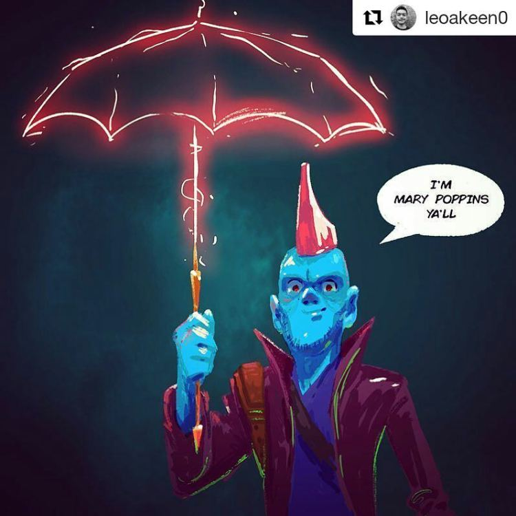 -You look like Mary Poppins! -Is he cool? -Yeah he's cool.  #Repost @leoakeen0 ・・・ Did a #yondu Sketch. Loved Guardians vol.2 so much!! #fanart #draw #drawing #sketch #sketchbook #marvel #guardiansofthegalaxy #guardiansofthegalaxyvol2 #guardiansofthegalaxy2 #marypoppins #immarypoppinsyall #umbrella #mohawk