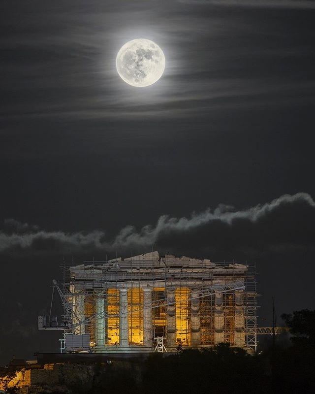 Awesome pic, right?  regram @alexmaragos #HarvestMoon night. The #fullmoon closest to the autumn equinox. #Athens #Greece #Acropolis #Astronomy #Space #Earth #Moon #Science