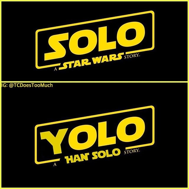Stupid, stupid title. Sigh… regram @comicbookhq TOP or BOTTOM? 😅 Looks like the top will be the OFFICIAL title for the solo Han Solo film! @tcdoestoomuch #HanSolo #starwars #solo