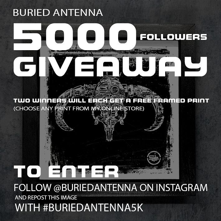 I need more #cyberpunk art in my life regram @buriedantenna To thank the fine people of Instagram for helping me to reach 5000 followers, I'm giving away 2 framed prints.  To enter, follow me and repost this image with #buriedantenna5k  Winners will be drawn at random when I feel like enough people have had a chance enter.  View my full range of prints at the link in my bio.