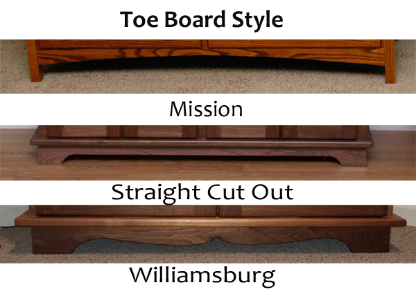 Toe board style of hutchs, dresser, buffet and desks