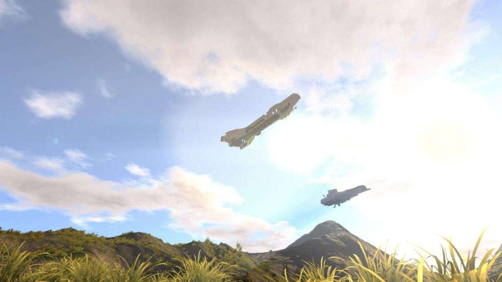 Spaceships hovering or flying over a planet with blue skies in a sunny day