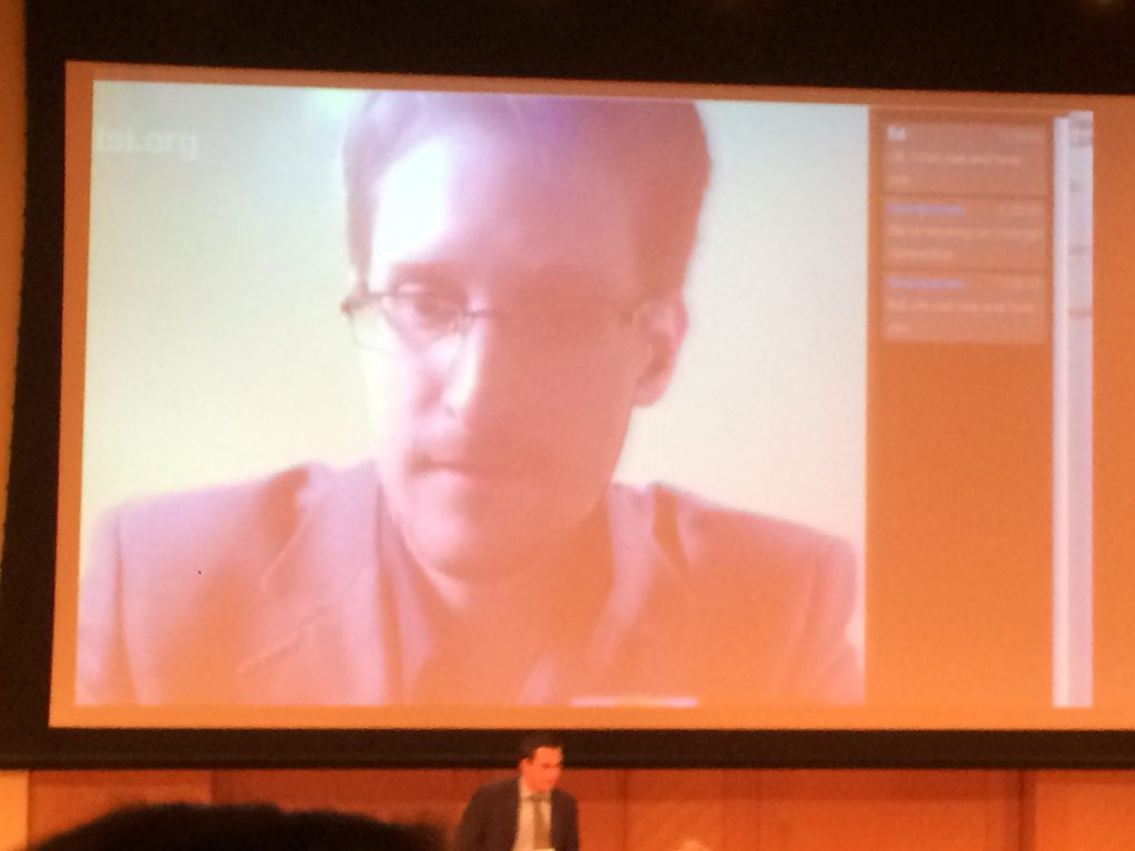 Possible hack delays Snowden talk