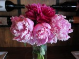 Beautiful peonies by our table