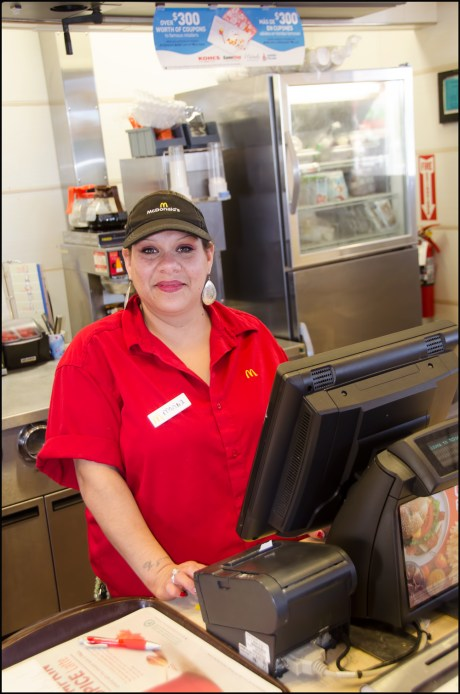 Marina working the counter