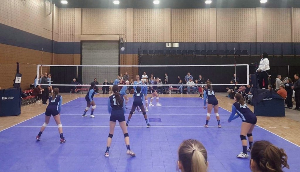Georgia Adrenaline Volleyball Club teams playing against each other at the Diggin' Dalton Volleyball Tournament. Dalton, GA 2018.