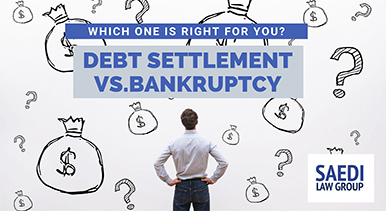 debt settlement bankruptcy man thinking about which one to choose