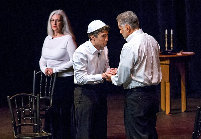 "(L-r) Kathleen McManus, Christopher Moses and Clayton Landey perform a scene from ""More Than Hope,"" an original short dramatic piece presented Oct. 28 at the Nostra Aetate Jubilee event held at the Ferst Center at Georgia Tech, Atlanta. The evening of drama, dance and music was organized by the Archdiocese of Atlanta and the American Jewish Committee-Atlanta to honor the 50th anniversary of the Vatican document on interfaith relations for the Catholic Church."