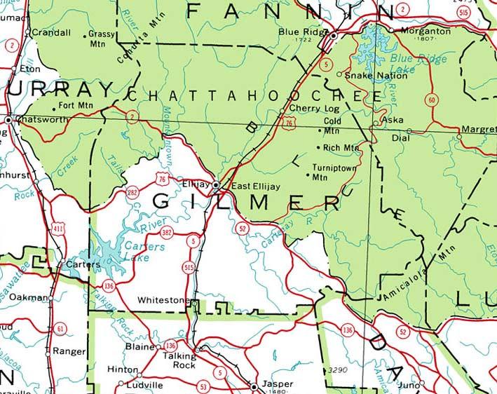 Map Gilmer County Ga