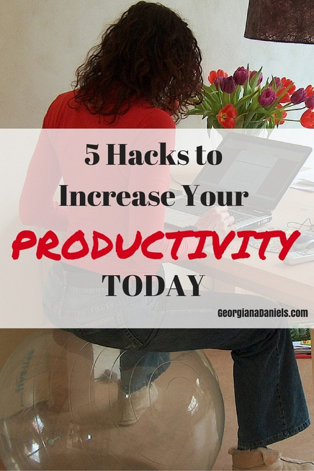 5 produtivity hacks that can be implented right now to change your day. It's time to cut yourself a break and work smarter, not longer.  https://georgianadaniels.com/5-productivity-hacks/