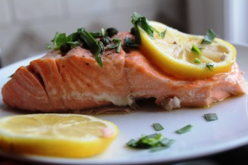 Wine Poached Salmon with Capers and Tarragon