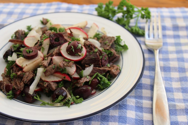 beef salad with radishes and olives