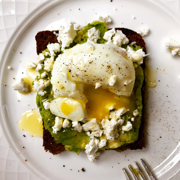 my avo toast with poached egg