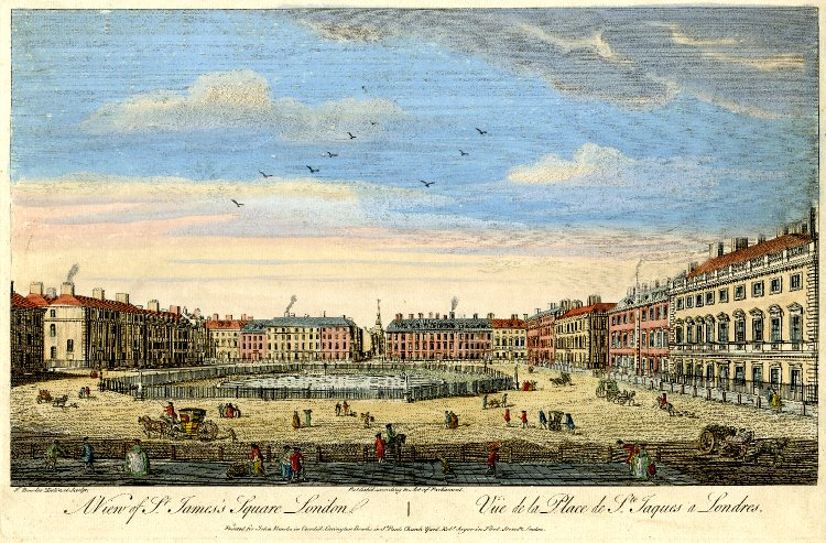 St James's Square in 1753 Coloured engraving by T Bowles (Mayson Beaton Collection, English Heritage)
