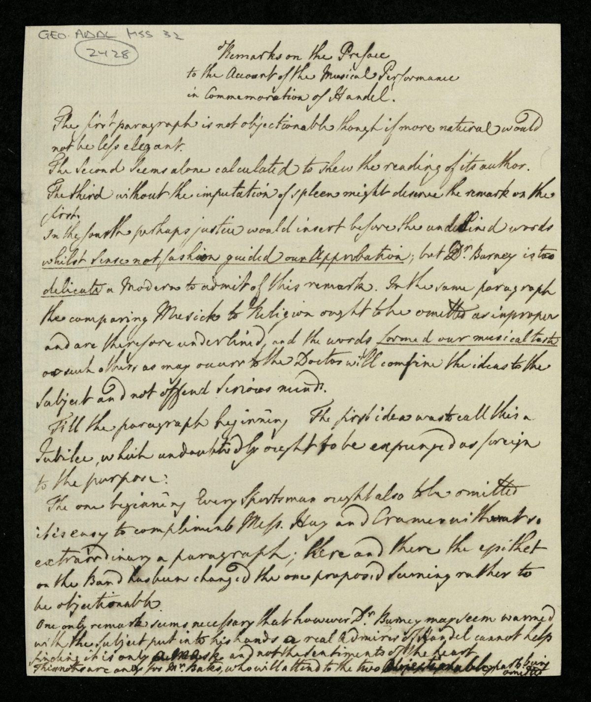 Remarks on the Preface to the Account of the Musical Performance in Commemoration of Handel' George III