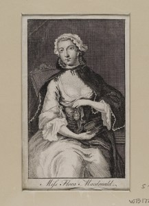 Flora Macdonald (1722-1790); Jacobite Heroine 5 1/2x 3 3/8 Portrait of Flora Macdonald seated, holding a miniature of Prince Charles on a ribbon.