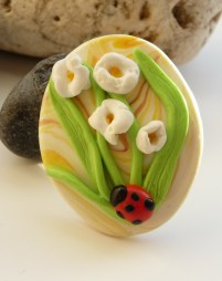 Polymer Clay Mothers Day Brooch - White flowers