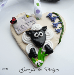 Polymer Clay Mothers Day heart gift Sheep