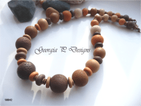 Polymer Clay brown mix tribal necklace