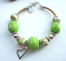 'Lime Zest' Polymer Clay bracelet on leather cord