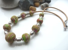 'Sherbet Twist' Polymer clay beaded necklace on leather cord