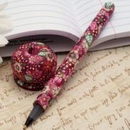 Polymer Clay covered pen and holder by Cag Crafts