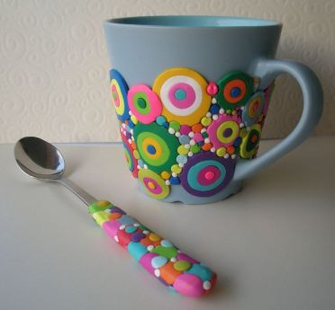 Polymer Clay decorated 'Bubble' mug and spoon by Klio