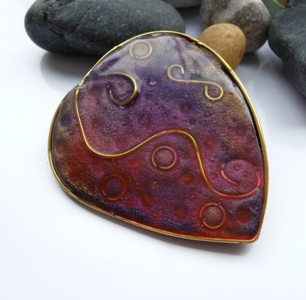 Polymer Clay & Wire Large Heart brooch