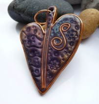 Polymer Clay & Wire Heart Pendant