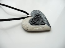 Polymer clay marble/granite effect heart pendant