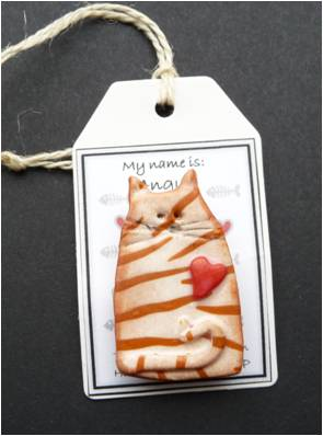 Polymer clay cat brooch -Angus