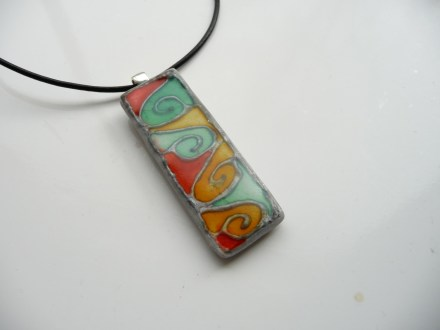 Pendant using Sunset Orange, Red Pepper & Aqua inks