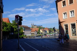 Walking into Bamberg with the Cathedral in background.