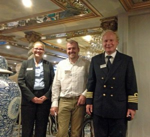 From left to right, our hotel manager, Carmen, our tour director, Chad, and Captain, Martin.