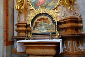St. Friedrich in his glass coffin in the Melk abbey church.