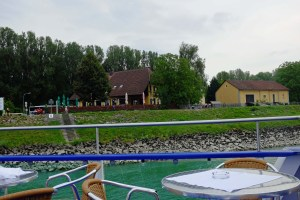 As the Princess moved away from the dock, we got a better lock at a charming in and campground along the Danube.