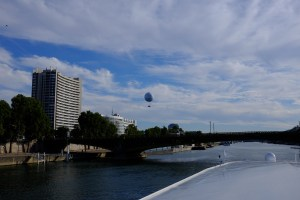 Tethered balloon in the distance from the top deck of the River Baroness.