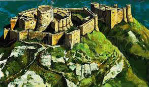 Artist's reconstruction of what Chateau Gaillard looked like when it was first built.