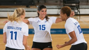 The Georgia State Panthers host the Kennesaw State Owls in volleyball Tuesday at the GSU Sports Arena, September 8, 2015, in Atlanta. Photo Submitted by Georgia State Athletics