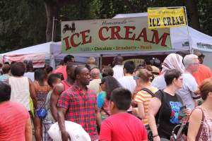 Participants enjoy homemade ice-cream and other sweet treats at the 2015 Atlanta Ice-cream Festival.