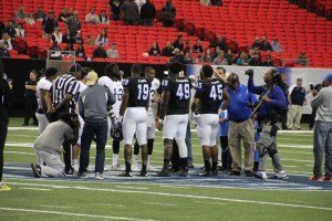 Georgia State and Georgia Southern meet before the kick off. Photo By Woody Bass   The Signal