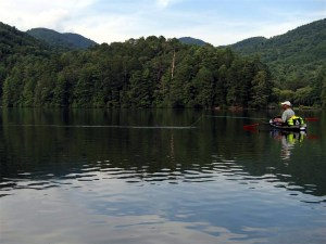 Kayak fishing on Unicoi.